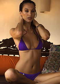 String Triangle Bikini Top in Bright Violet 277-6280-71100