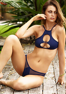 Mesh Insert Brazilian II Bikini Bottom in Navy 277-6320-40900