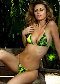 Downtown Enhanced Cut Triangle in Lime Green Palm Print 331-1069-72000
