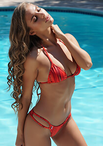 Red Gold Shimmer - String Triangle Bikini Top 333-1049-71100