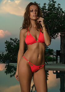 B.Luxe Bliss - Peek-A-Boo Triangle in Coral Mania 336-6470-71700