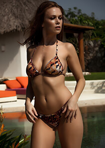 Feather Print - String Triangle Bikini Top 333-1053-71100