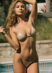 Silver with Nude Mermaid Mesh - String Triangle Bikini Top 334-8420-71100
