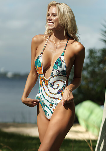 Santorini Plunge One Piece in Teal Jungle Print 119-1020-62100