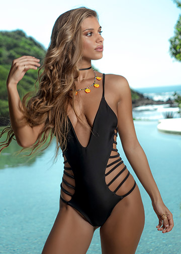 Mykonos Strappy One Piece in Black 119-6020-62400