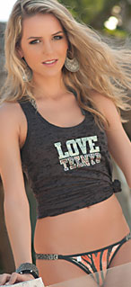 Racerback Burnout Tank with Crystalized Logo in Crystal and Dark Pink Accent 551-4010-03100