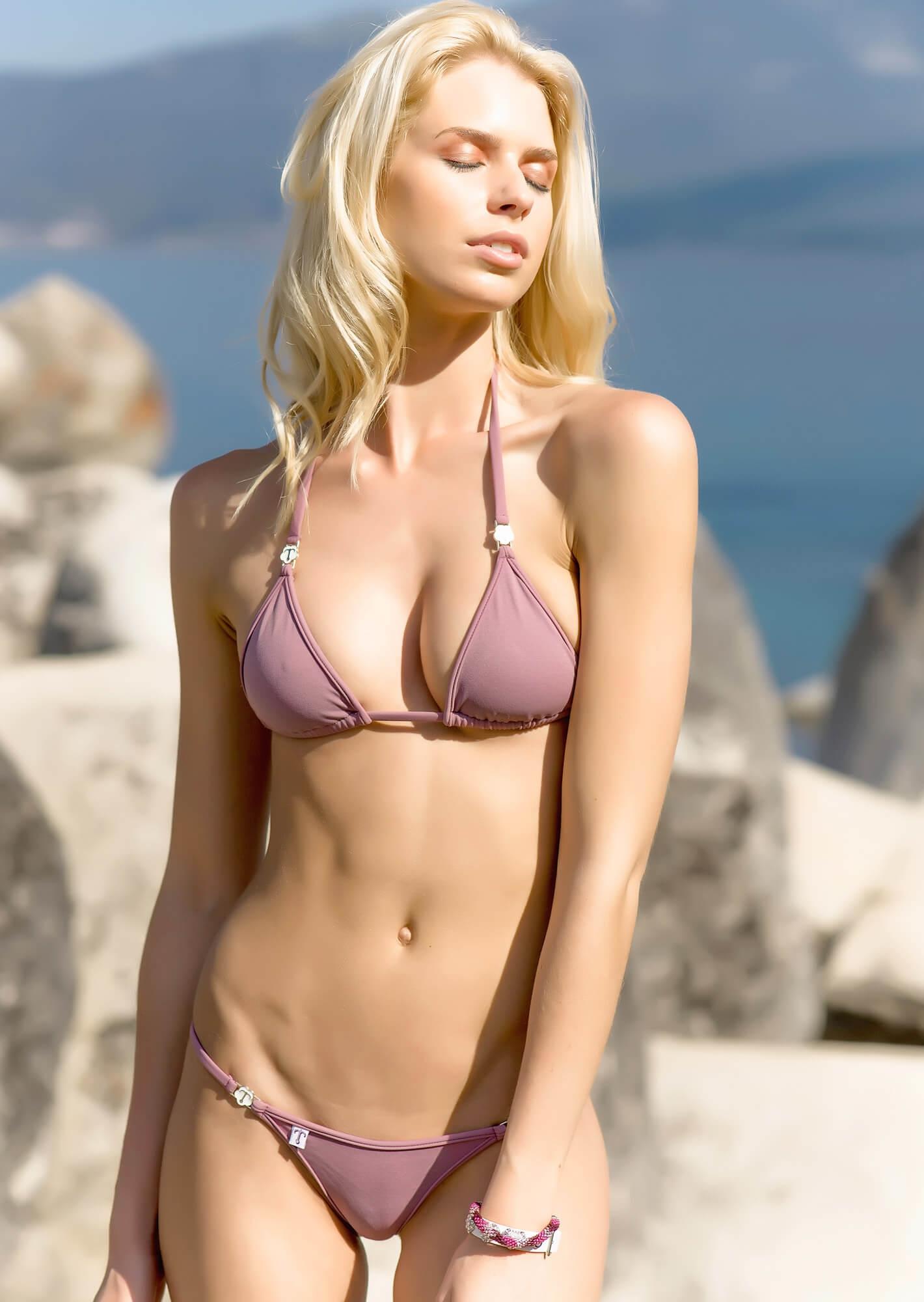 Enhanced Cut Triangle Bikini Top in Smokey Mauve with ...