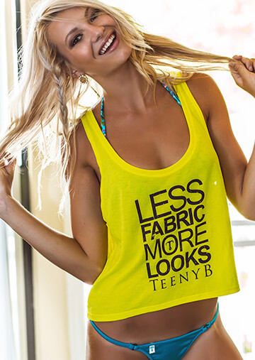 Neon Yellow Swing Tank - Less Fabric Black Print 551-4040-03100