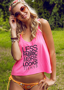 Neon Pink Swing Tank - Less Fabric Black Print 551-4060-03100