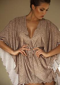 Leopard Print Poncho Cover-Up 556-1045-52000
