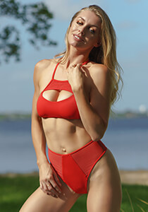 Keyhole Mesh Bralette in Red Coat 277-6550-92800