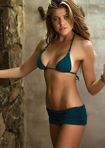 Shirred Skirt Bikini Bottom in Teal