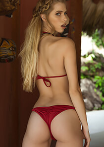 Pucker Bikini Bottom in Red