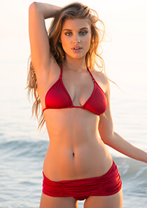 Shirred Skirt Bikini Bottom in Red