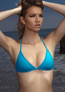 Triangle Bra Bikini Top In Peacock Blue