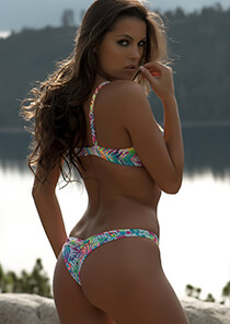 Brazilian Half Pucker Bikini Bottom in Multi-Colored Neon Print