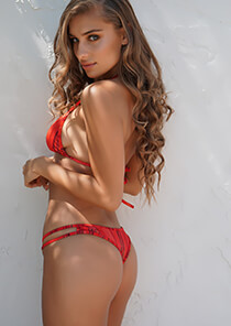 Hipster Thong Cheeky Bikini in Red Gold Shimmer