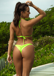 Half Pucker Bikini Bottom in Neon Green