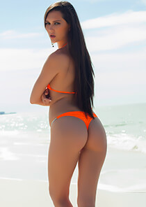 Whaletail Thong Bikini Bottom in Bright Orange