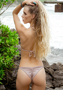 Pinkish Tan Half Pucker Bikini Bottom