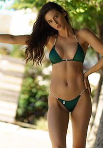 Green Bikini with Crystal Chain