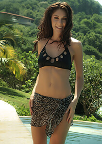 Teeny Sarong Cover-Up in Black White Floral Mesh 556-8550-57000