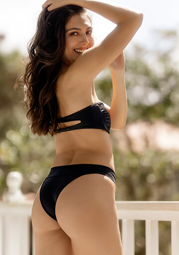 Black Brazilian Bikini Bottom with Banded Waist from Naturale Collection