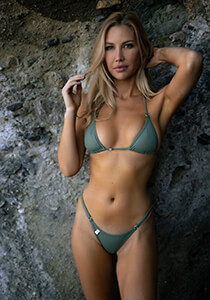 Army Green Triangle Bikini Top with Enhanced Curve