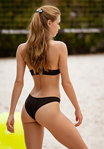 Mesh Insert Brazilian II Bikini Bottom in Matte Black 277-6020-40900