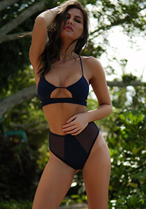 Banded Peek-A-Boo Bikini Top in Navy 277-6320-91500