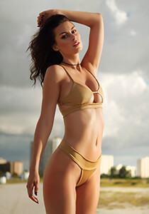 Banded Peek-A-Boo Bikini Top in Gold 277-7390-91500