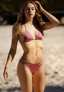 Seamless Micro String Triangle Bikini Top in  Pink Rose 277-7420-73300