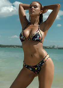 Unicorn Print with Nude - Mesh Insert Triangle Bikini Top 333-1068-71800