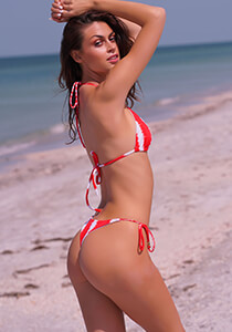 Red White Tie Dye Stripe - Seamless Thong Tie-Side  333-1110-31900
