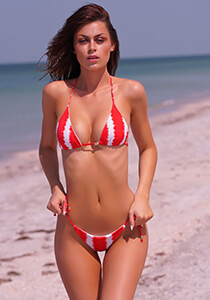 Red White Tie Dye Stripe - Seamless Micro String Triangle Bikini Top 333-1110-73300