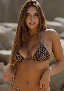 Tan Leopard Seamless Micro String Triangle Bikini Top