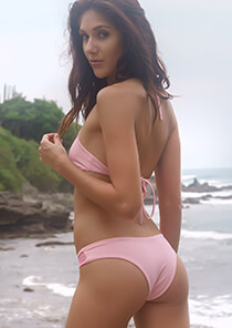Blush Pink with Pink Tie Dye Brazilian Bikini Bottom with Mesh Insert