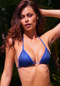 Azure with Blue Mermaid Mesh - String Triangle Bikini Top 334-8660-71100