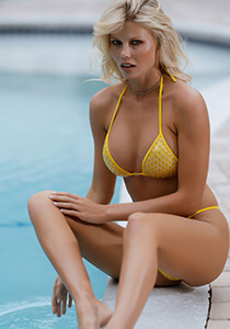 Silver with Yellow Mermaid Mesh - String Triangle Bikini Top 334-8700-71100