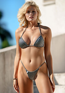 Pewter with Tribe Mermaid Mesh - String Triangle Bikini Top 334-8720-71100