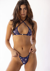 Blue White Stars Triangle Bikini Top with Lined Mesh and Swarovski Crystal Trim
