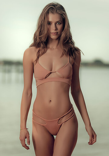 Banded Peek-A-Boo Bikini Top in Dusty Rose 227-6650-91500