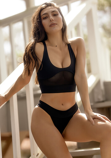 Sport Crop Mesh Bikini Top in Matte Black 277-6020-85400