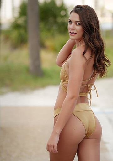 Banded Brazilian Bikini Bottom in Gold 277-7390-40800