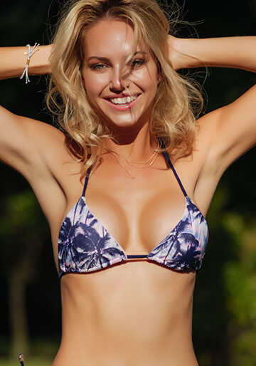 Navy Palm - Seamless Micro String Triangle Bikini Top 333-1097-73300