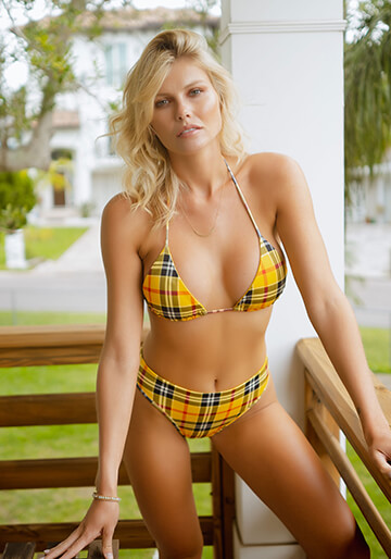 Yellow Plaid - Seamless Micro String Triangle Bikini Top 333-1107-73300