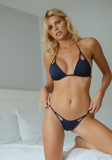B.Luxe Bliss - Peek-A-Boo Brazilian Half Pucker in Navy 336-6320-41800