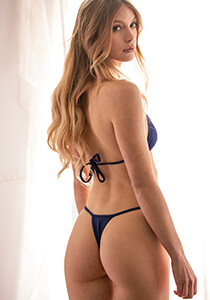 Blue Thong Bikini Bottom with High-Rise Triangle Back Fit