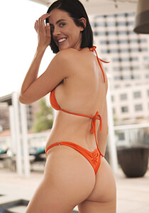 Brazilian Pucker Bikini Bottom in Rust Orange