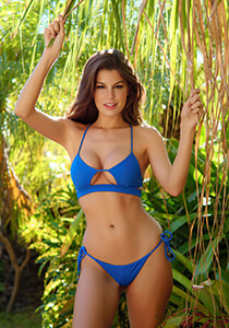 Banded Peek-A-Boo Bikini Top in Pacific Blue 277-6630-91500